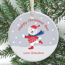 Cute Personalised Christmas Ornament - Snowy Bear Design - Personalized Ceramic Christmas Tree Bauble - Holiday Decoration